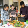 students make salad at Roble Hall
