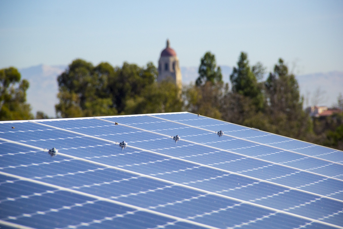 Solar panels on the Central Energy Facility looking toward Hoover Tower