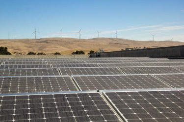 The photovoltaic array on the roof of the Stanford Auxiliary Library in Livermore. SAL3 is a high-density cold storage preservation facility that holds overflow collections from Stanford University Libraries.