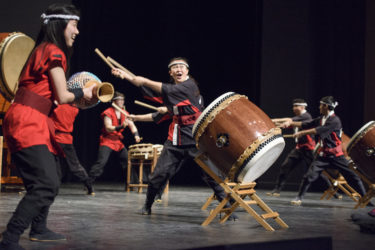Stanford Taiko performing on stage