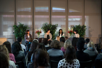 STANFORD, CA - APRIL 19, 2017: The TomKat Center for Sustainable Energy presents Women Entrepreneurs in Sustainability 2017 at Huang Engineering Center. (L-R) Stacey Bent, Director of TomKat Center; Christine Su, PastureMap; Ugwem Eneyo, Solstice; Hedi Razavi, Keewi