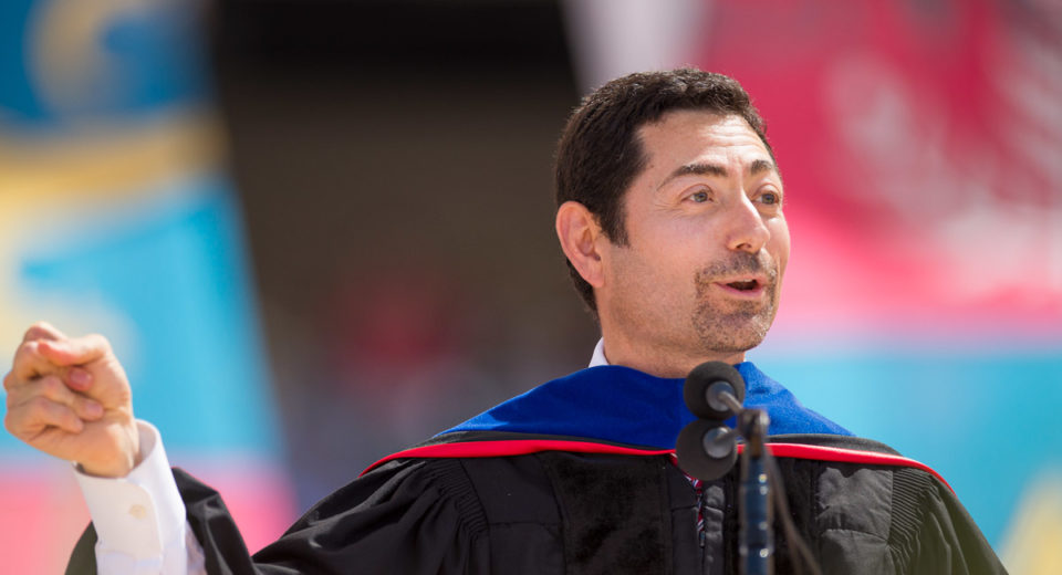 Commencement speaker Mariano-Florentino Cuéllar encouraged the graduates to snap their fingers while he rapped part of his Commencement address.