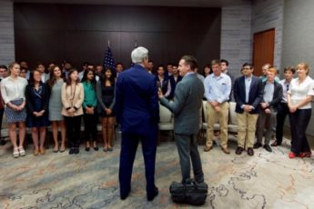 Secretary of State John Kerry addresses a class at Stanford