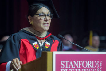 Penny Pritzker speaking at 2017 GSB Commencement