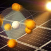 artist's rendering of atoms in perovskites responding to sunlight with solar panels in backgroundlight