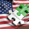US flag with jigsaw puzzle pieces
