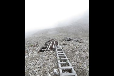 Ladders on the Jumbo Mine glacial moraine.