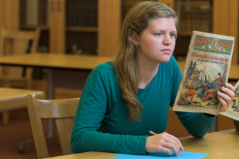 "Through careful analysis of the writing style embodied in dime novels, Ellie Redding is challenging the popular viewpoint that these popular tales of the Wild West are ""trashy."""