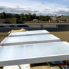 Fluid-cooling panels on the roof of Stanford building