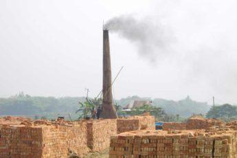 Bricks dry outside a kiln in Bangladesh.