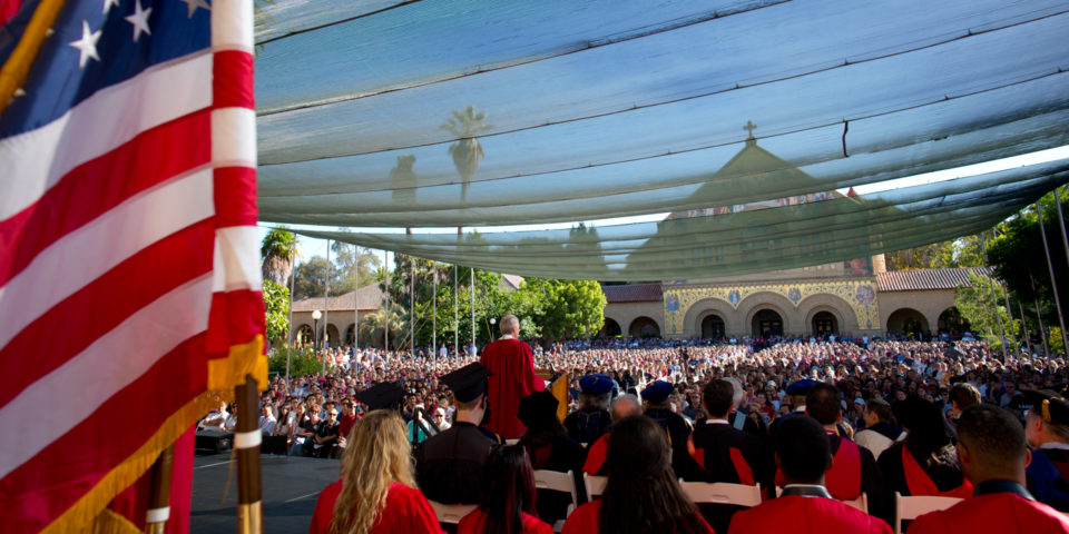View of the crowd from the stage at Convocation on the main Quad