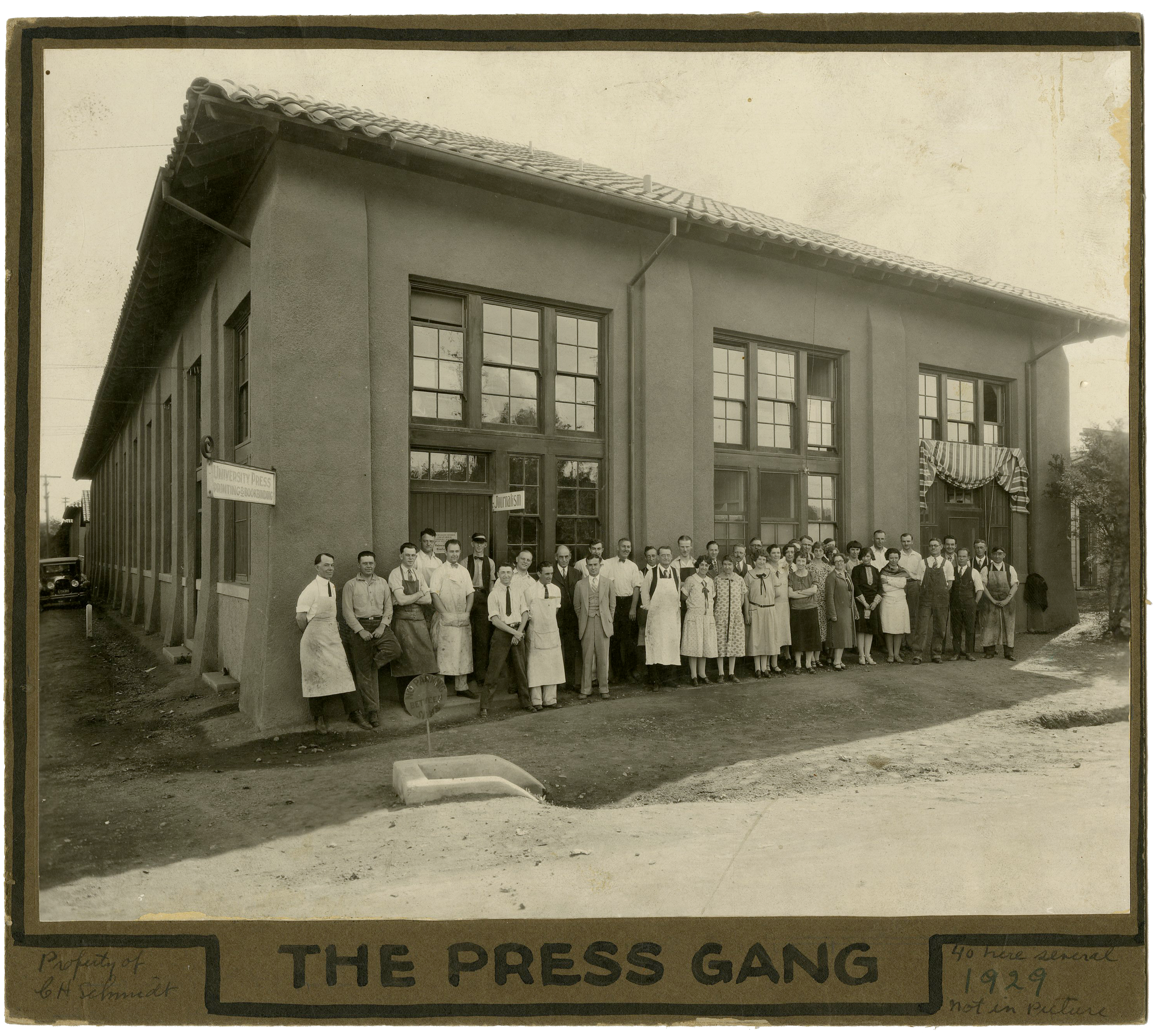 A 1929 photo of Stanford University Press' team in front of their office building.