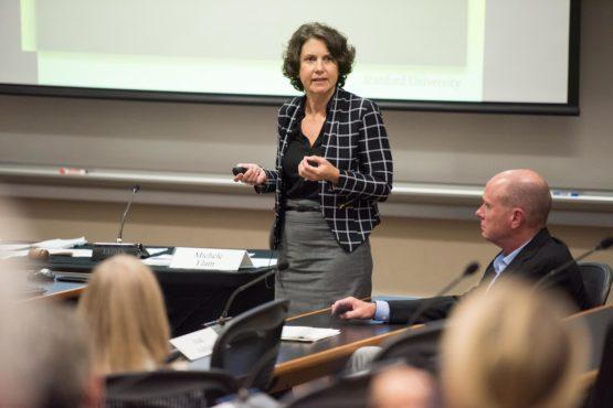 Catherine Palter standing before the senate