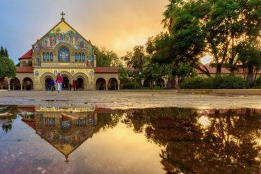Memorial Church sunrise reflection