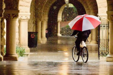 Bicyclist with umbrella