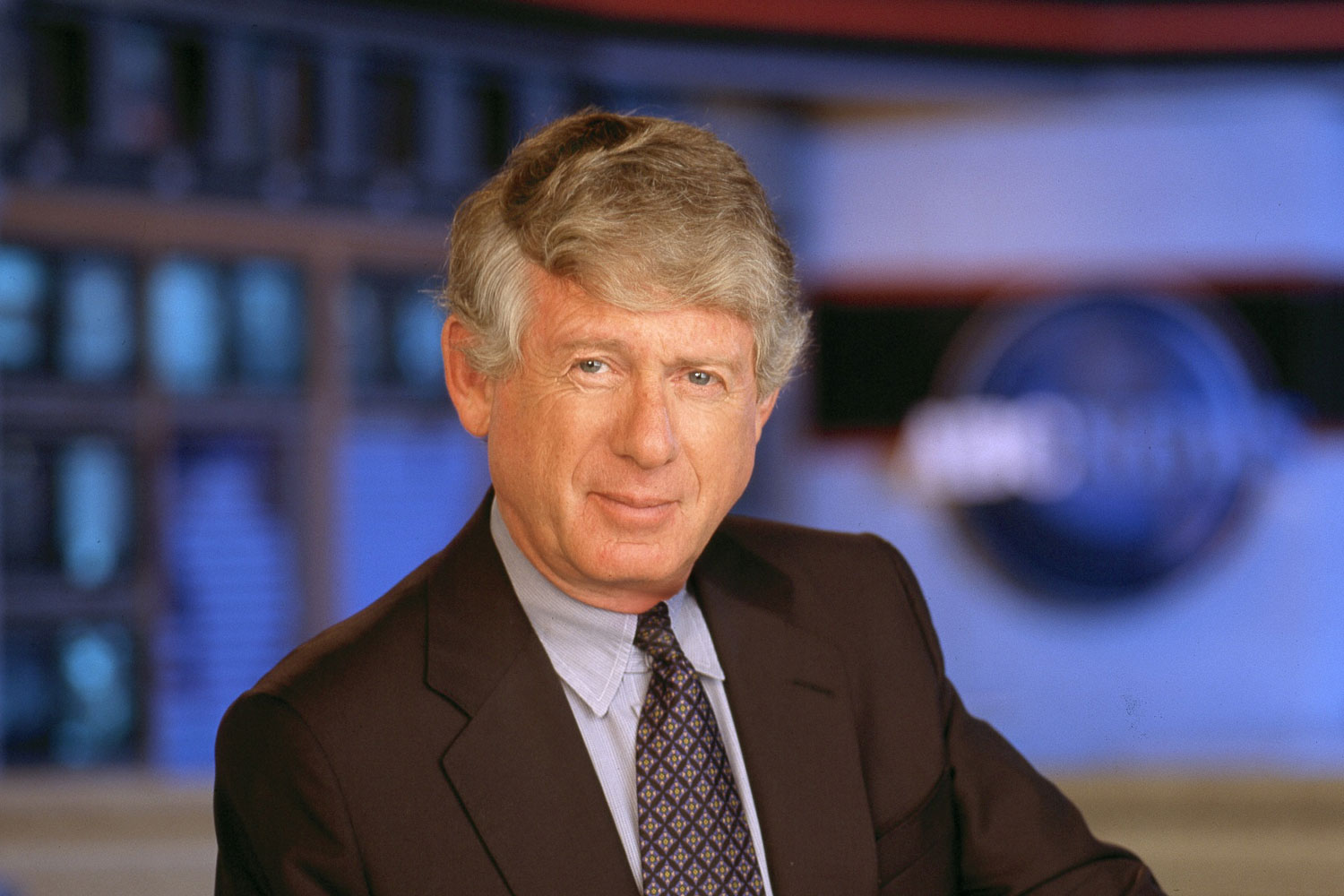 Ted Koppel on set in newsroom