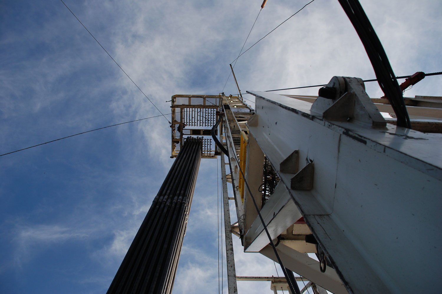 A drill rig at the Fayetteville Shale gas play in Arkansas. The area was shaken by earthquakes in 2010 and 2011 following injections of wastewater from natural gas operations into deep underground wells.
