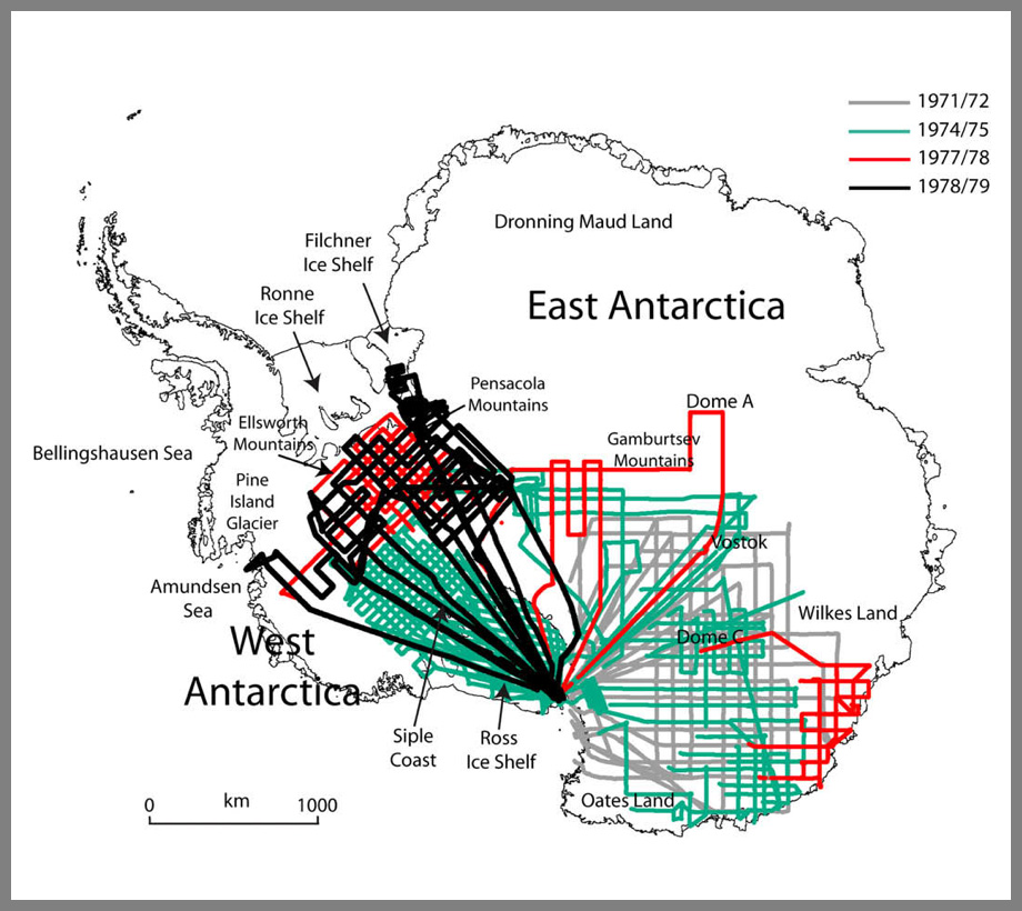 Flight maps of Antarctic radar surveys conducted in the late 1960s and 1970s by an international consortium of scientists.