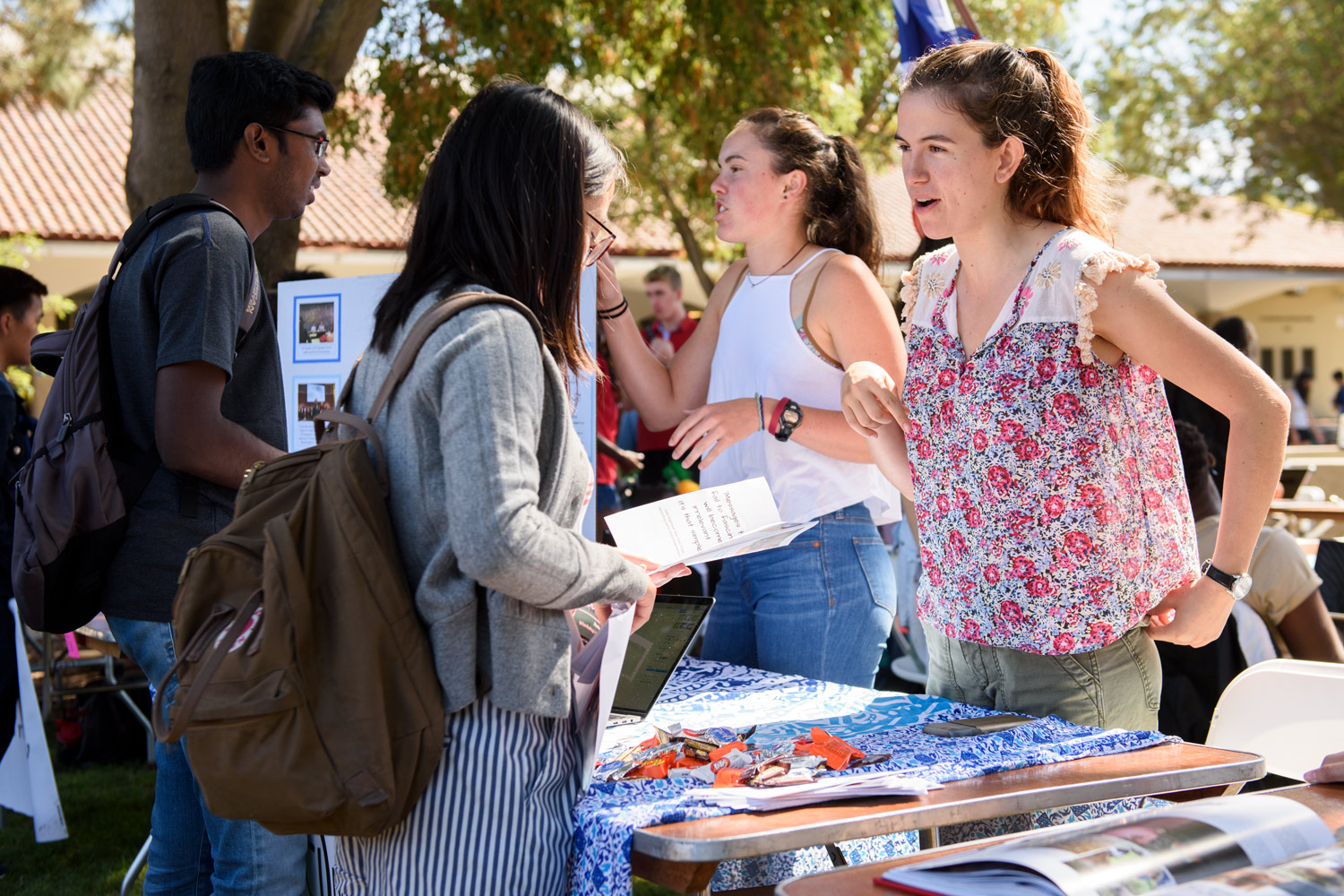 Grayson Melby, left, Recruitment and Outreach Officer, and Lisa Manzanete,right, Events and Programming Officer, from the Fascinate organization recruit at the 2017 Student Activities Fair