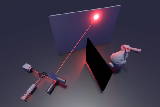 representation of a laser light bouncing off a surface to illuminate an object hidden around the corner
