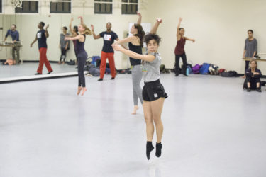 Freshman Olivia Higa performs a movement combination during the master class.