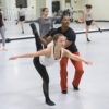 Freshman Eliza Pink receives instruction from David Freeland of the L.A. Dance Project during his master class.
