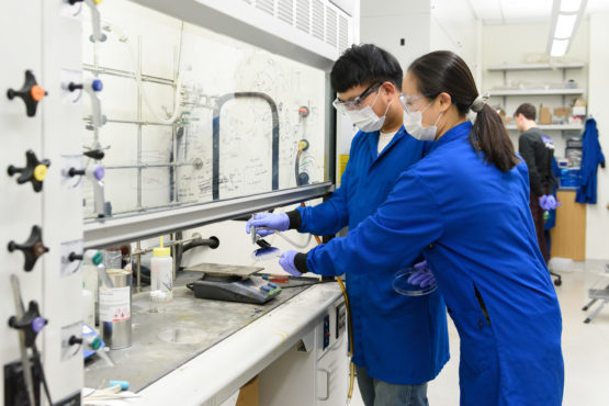 Weichen Wang and Jie Xu work together in the Bao lab.