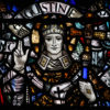 Saint Augustine in stained-glass window
