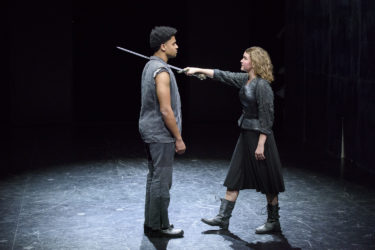 Irie Evans as Segismundo, left, and Fiona Maguire as Rosaura i