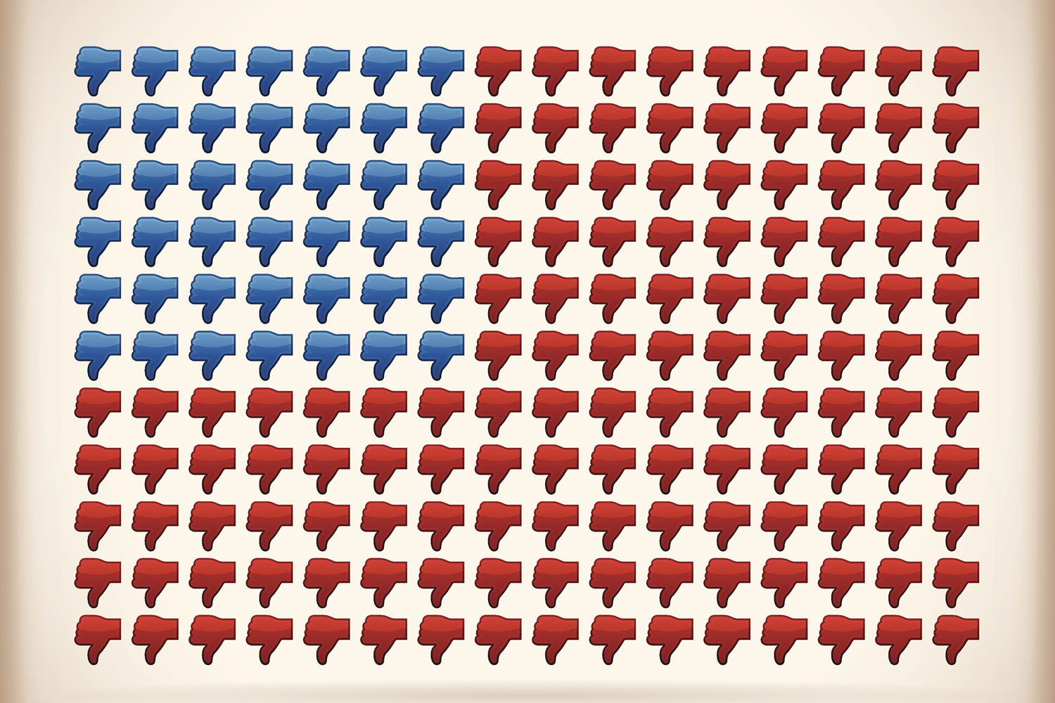 representation of American flag made up of thumbs-down symbols to represent Americans' dissatisfaction with Congress