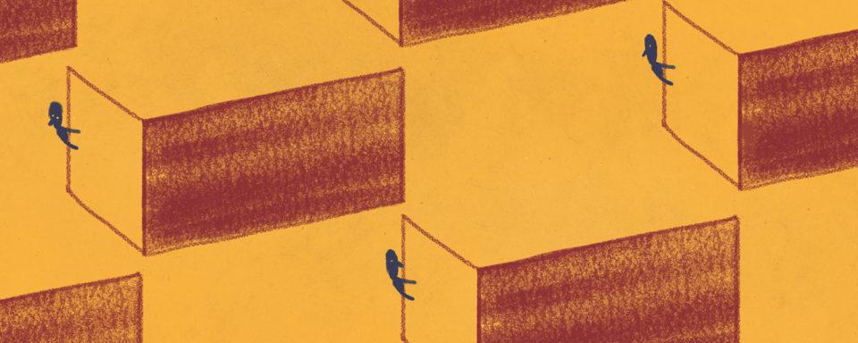 illustration of figures peering around the corner