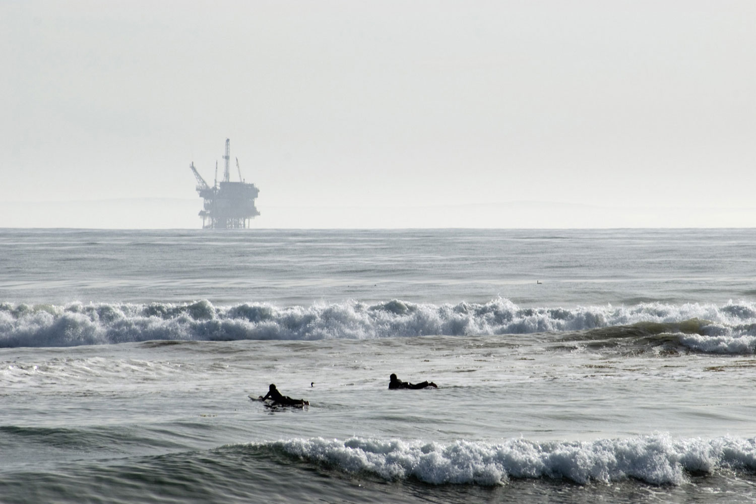 An oil platform off the coast of Santa Barbara, California. After a large oil spill there in 1969, California halted leasing of state-controlled offshore tracts for drilling.