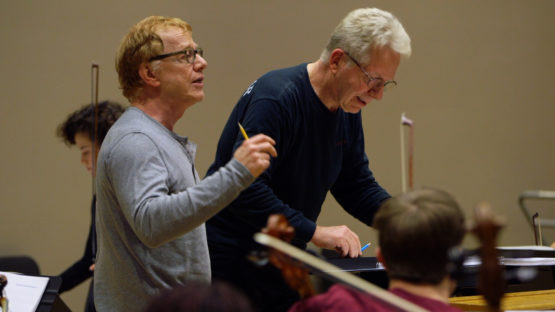 Danny Elfman and John Mauceri rehearse Stanford students