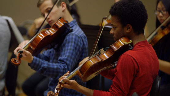 SSO students rehearse at Bing Studio