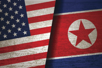 composite image of U.S. and North Korean flags