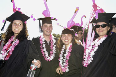 Grads with flamingoes