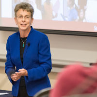 Patricia Gumport, vice provost for graduate education, addresses the Faculty Senate on April 12, 2018