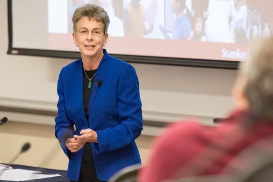Patricia Gumport, vice provost for graduate education, addresses the Faculty Senate on April 12, 2018