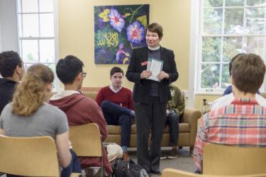 Rev. Joanne Sanders at a Multifaith Welcome