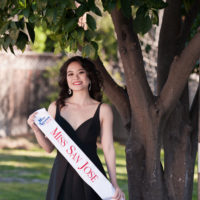 Jacqueline Wibowo wears her Miss San Jose sash and crown