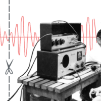 Engineers work with early audio electronics.