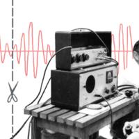 Engineers work with early audio electronics.