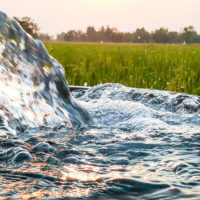closeup of water pouring from an irrigation pipe with field in the background