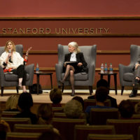 Philosopher Christina Sommers, Stanford law Professor Deborah Rhode and journalist Andrew Sullivan on stage at May 23 Cardinal Conversations event