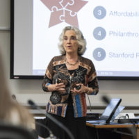 Persis Drell reports on the budget to the faculty senate