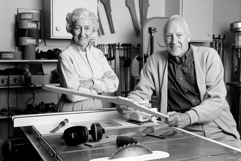 Robert Eustis and his late wife, Kay, are shown in Eustis' workshop.