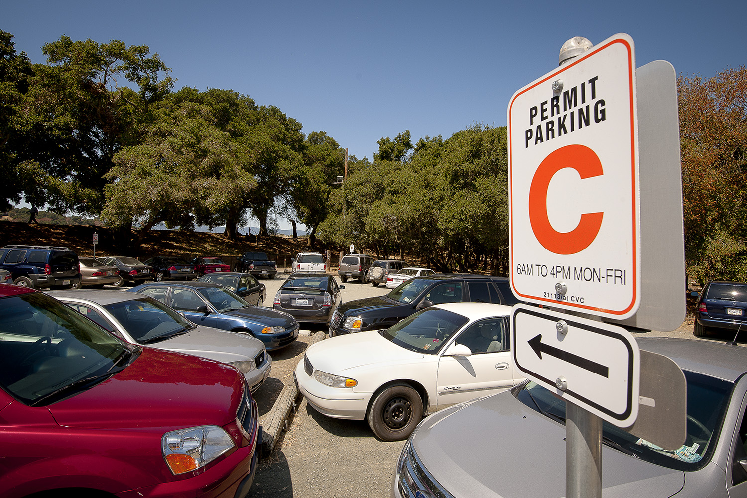 "08/10/2010 Parking lot near Lake Lagunita, with ""C"" permit sign."