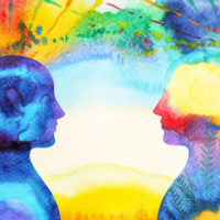 abstract watercolor of two people facing each other.