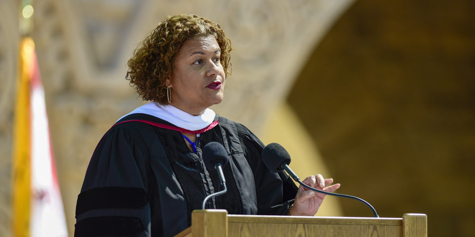 Baccalaureate speaker Elizabeth Alexander gives the address. 127th Commencement Baccalaureate, Main Quad.