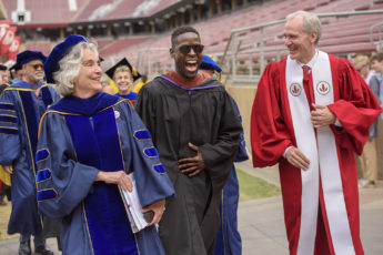 Persis Drell, left, Sterling K. Brown and Marc Tessier-Lavigne